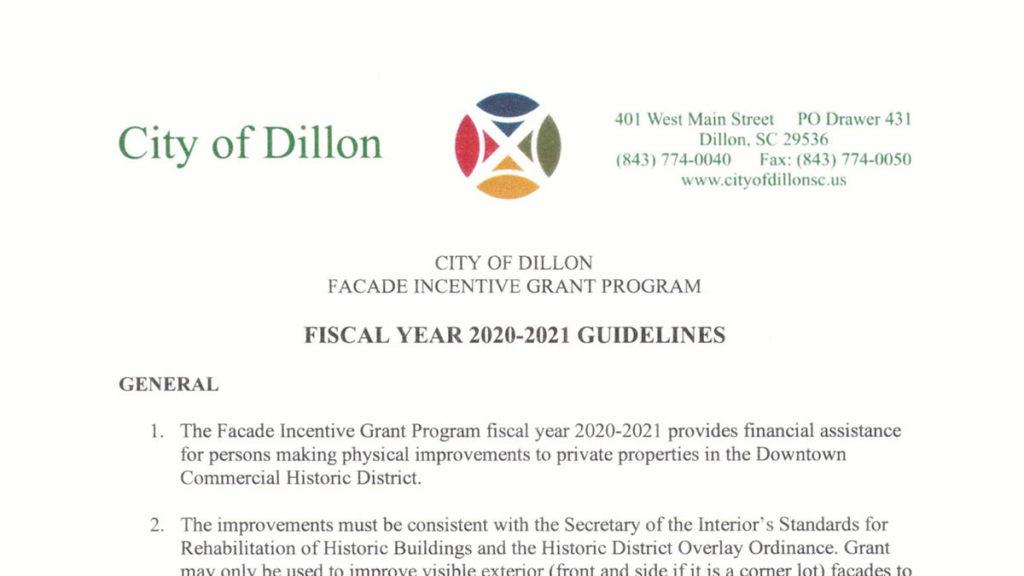 City of Dillon Facade Incentive Grant Program 2020