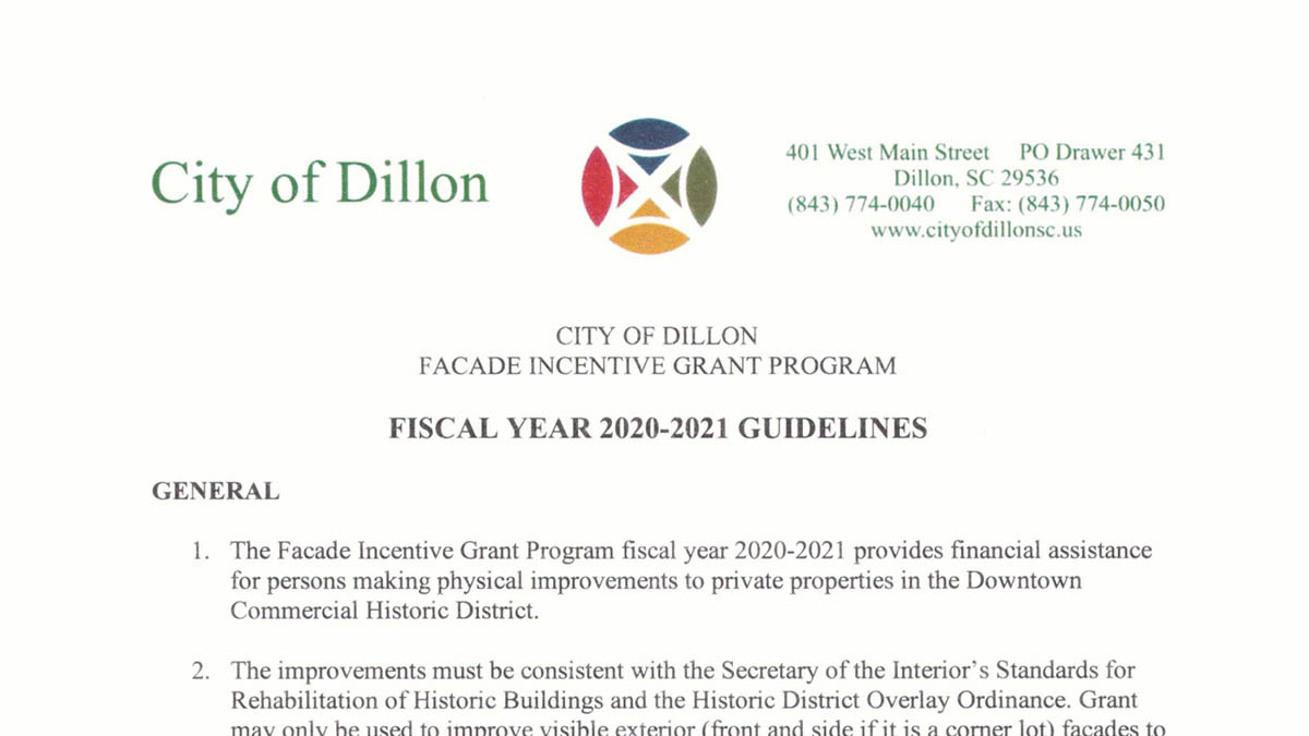 City of Dillon Facade Incentive Grant Program 2020